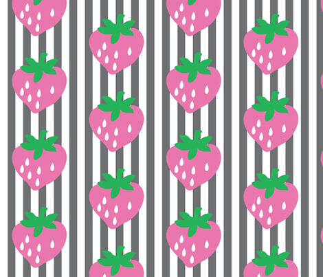 strawberry stripe jordana fabric by mossbadger on Spoonflower - custom fabric