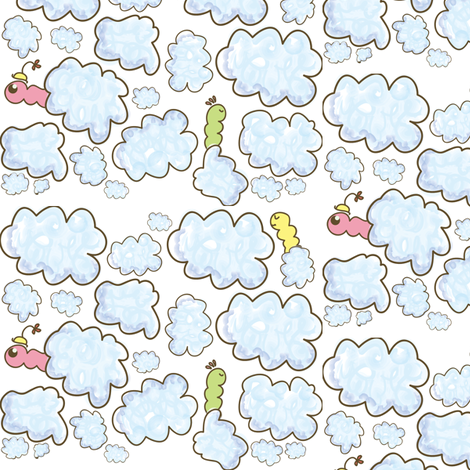 Worms in the soft Sky fabric by majobv on Spoonflower - custom fabric
