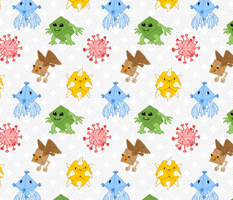 polyhedral monsters fabric by sef on Spoonflower - custom fabric