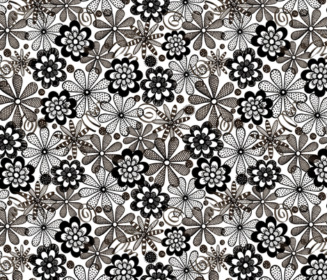 B&W_blooms fabric by evita on Spoonflower - custom fabric
