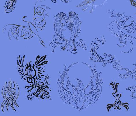 PhoenixFabricBl fabric by rengal on Spoonflower - custom fabric