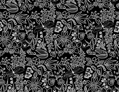 A Crazy Garden white on black(please zoom)