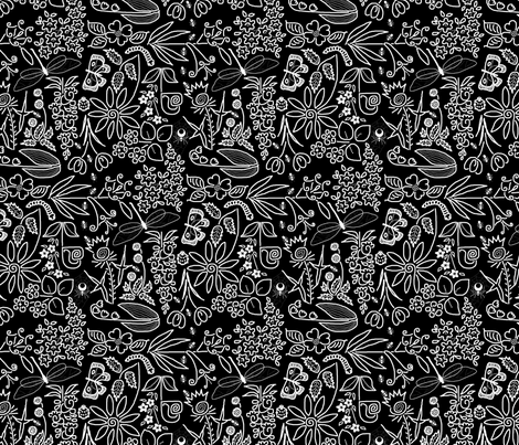 A Crazy Garden white on black(please zoom) fabric by victorialasher on Spoonflower - custom fabric