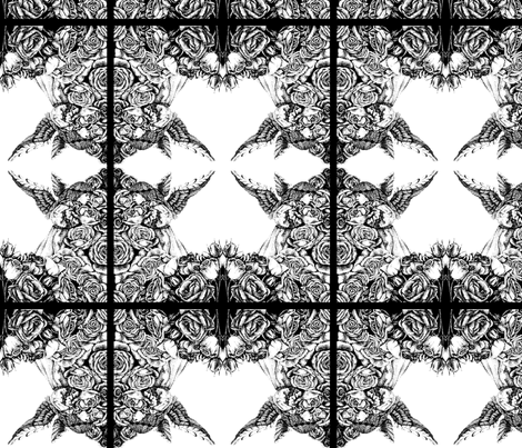 Pattern-B_W-angel_and_roses-2 fabric by denisedian on Spoonflower - custom fabric