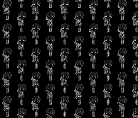 braid girl black and white fashion fabric by sawabona on Spoonflower - custom fabric
