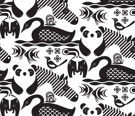 The Magpie and the White Monarch fabric by sammyk on Spoonflower - custom fabric