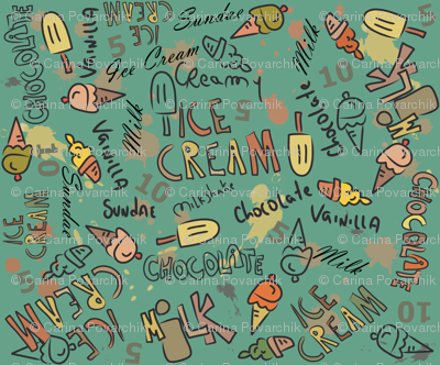 Ice Cream Doodling in green