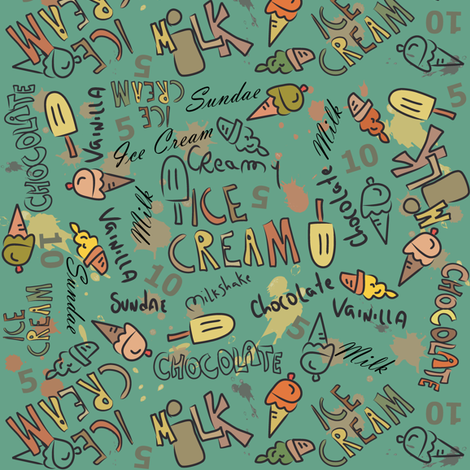 Ice Cream Doodling in green fabric by catru on Spoonflower - custom fabric