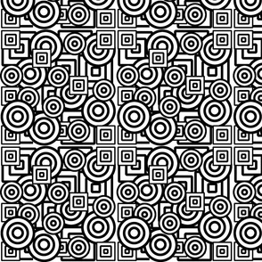 Dizzy Circles and Quirky Squares in Black and White.