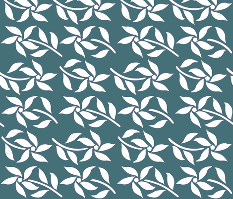 Four_Flowers_white-DK-BLUEGREEN fabric by mina on Spoonflower - custom fabric
