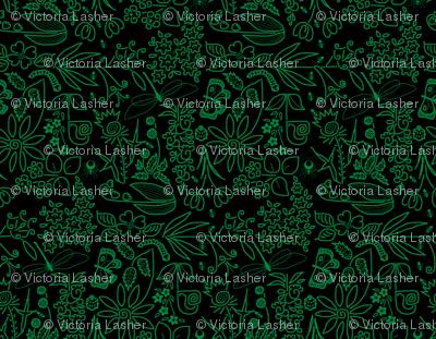 A Crazy Garden: green on black (please zoom)