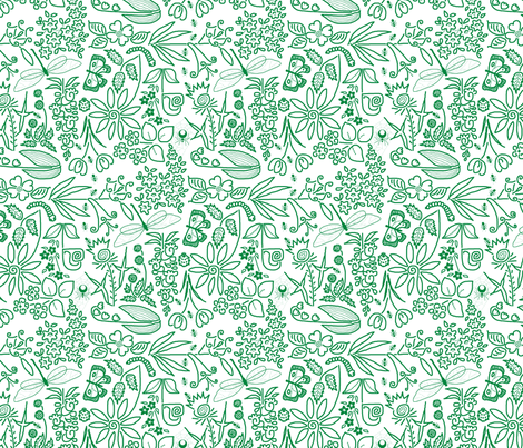 A Crazy Garden: green on white (please zoom) fabric by victorialasher on Spoonflower - custom fabric