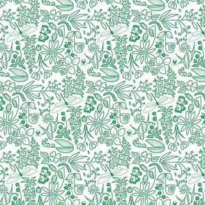 A Crazy Garden: green on white (please zoom)