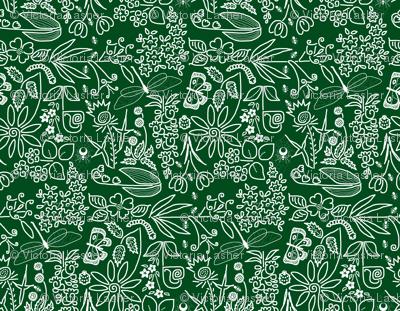 A Crazy Garden: white on dark green (please zoom)