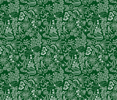 A Crazy Garden: white on dark green (please zoom) fabric by victorialasher on Spoonflower - custom fabric