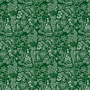 A Crazy Garden: white on dark green (please zoom)