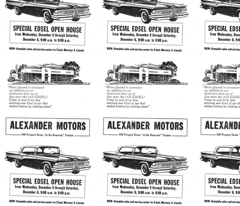1959 Edsel dealership open house advertisement fabric by edsel2084 on Spoonflower - custom fabric