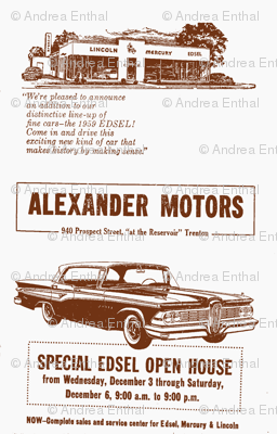 1959 Edsel ad from Alexander Motors in brown