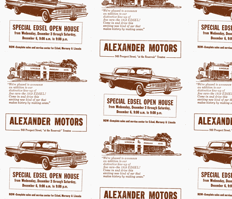 1959 Edsel ad from Alexander Motors in brown fabric by edsel2084 on Spoonflower - custom fabric