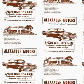 1959 Edsel ad from Alexander Motors in brown