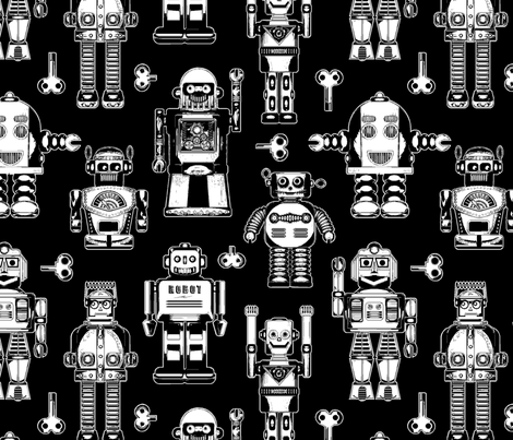 Tin_Robots_on_Black fabric by cjldesigns on Spoonflower - custom fabric