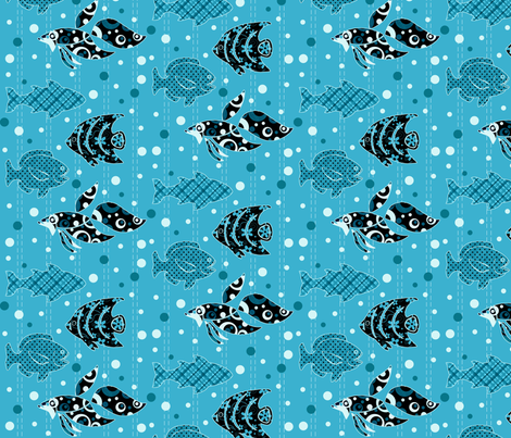 Funky Fishies fabric by jpdesigns on Spoonflower - custom fabric