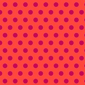 Lunares morados con fondo naranja