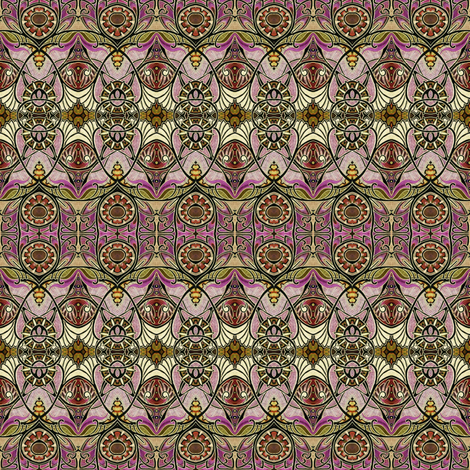 Victorian Gothic (magenta/golds negative) fabric by edsel2084 on Spoonflower - custom fabric