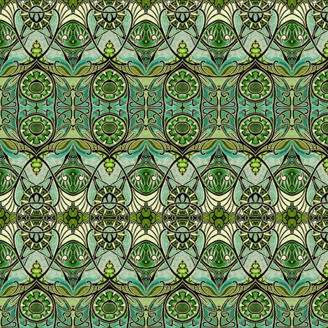 Victorian Gothic (olive/tan negative) fabric by edsel2084 on Spoonflower - custom fabric