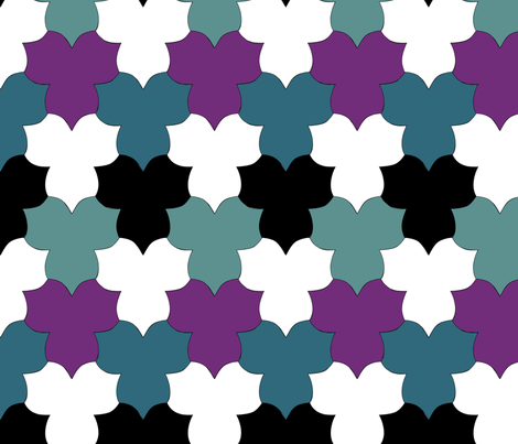 Tessellating_Trilliums_3colors-BLACK-WHITE fabric by mina on Spoonflower - custom fabric