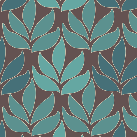 Cloisonne_med_leaf_texture_bluegreens_BROWN fabric by mina on Spoonflower - custom fabric