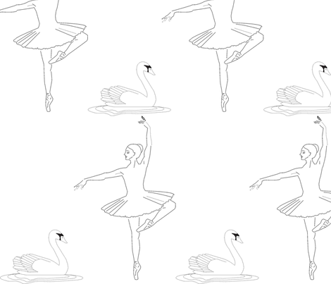 White Swan fabric by anais_eco on Spoonflower - custom fabric