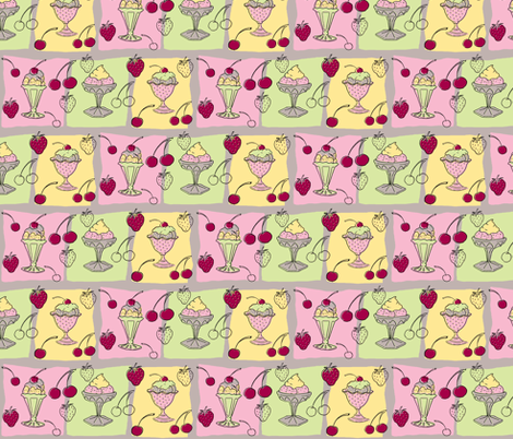 Ice Cream Sundae fabric by woodledoo on Spoonflower - custom fabric