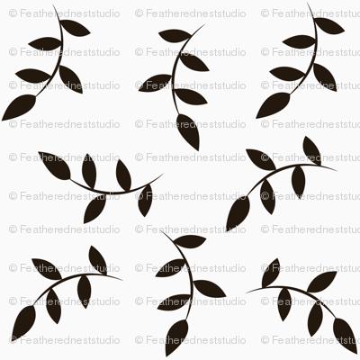 Black leaves on white