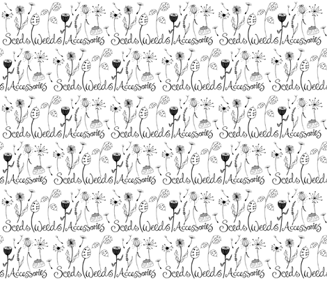 seeds_weeds_BW_zoom fabric by peppermintpatty on Spoonflower - custom fabric