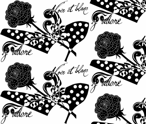 j' adore noir et blanc fabric by paragonstudios on Spoonflower - custom fabric