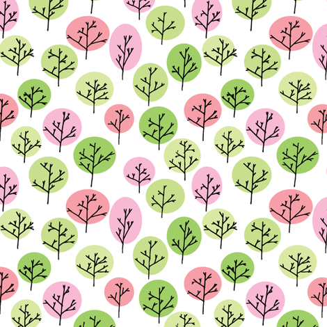 Trees in Spring fabric by leighr on Spoonflower - custom fabric