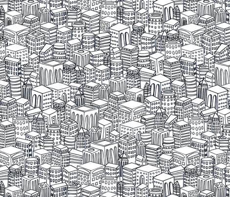 Floating Across the Tops of Cities (New York b&w) fabric by leighr on Spoonflower - custom fabric