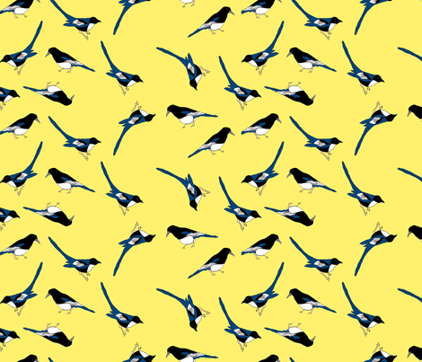Magpies fabric by corinnevail on Spoonflower - custom fabric