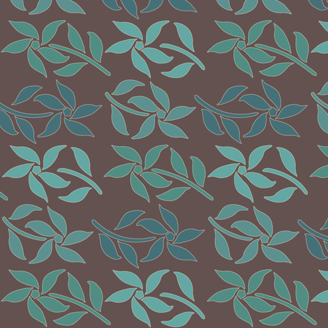 Cloisonne-SM-4flowers-4Bluegreens-BROWN fabric by mina on Spoonflower - custom fabric