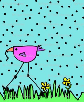 Big Pink Bird Gets The Worm
