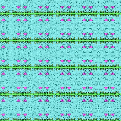 Big Pink Bird Gets The Worm fabric by fayebeasintx on Spoonflower - custom fabric