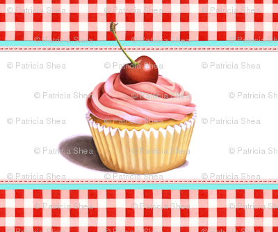 Giant Pink Cupcake with Red Gingham