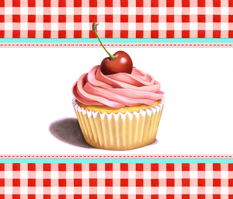 Giant Pink Cupcake with Red Gingham fabric by patriciasheadesigns on Spoonflower - custom fabric