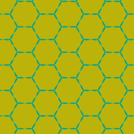 Honey Hive in green moss fabric by lana_kole on Spoonflower - custom fabric