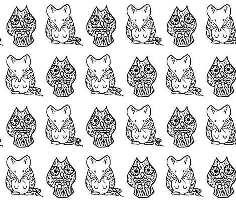 A Mouse and an Owl III. fabric by pond_ripple on Spoonflower - custom fabric
