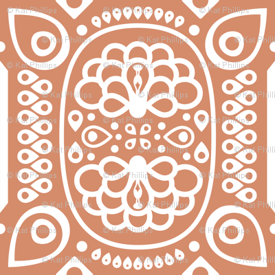 Tribal Peacock - in Coral