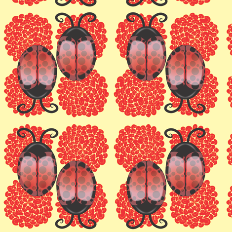 Lady Bugs on Light Yellow background fabric by bbsforbabies on Spoonflower - custom fabric