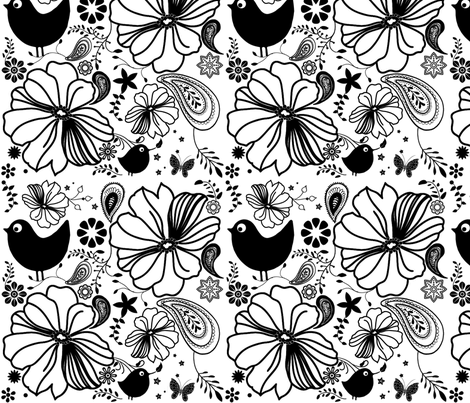 summer_birds_BW fabric by snork on Spoonflower - custom fabric