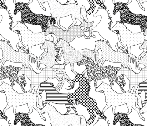 Horses fabric by loki_and_lamb on Spoonflower - custom fabric